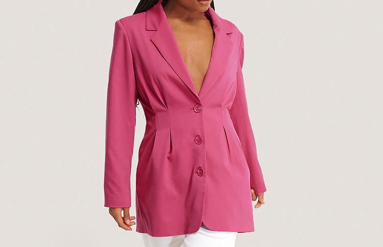 Nedringet pink Blazer til damer