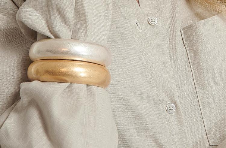 Matte armbånd i børstet guld og børstet sølv