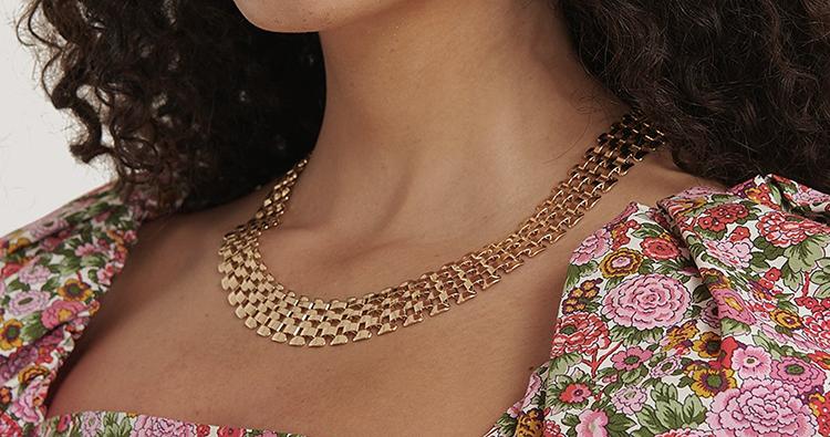 Smuk flad halskæde i vintage design