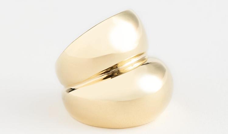 Stor chunky ring i kunst guld