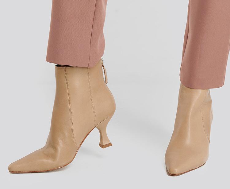 Beige og billige skind støvle til kvinder