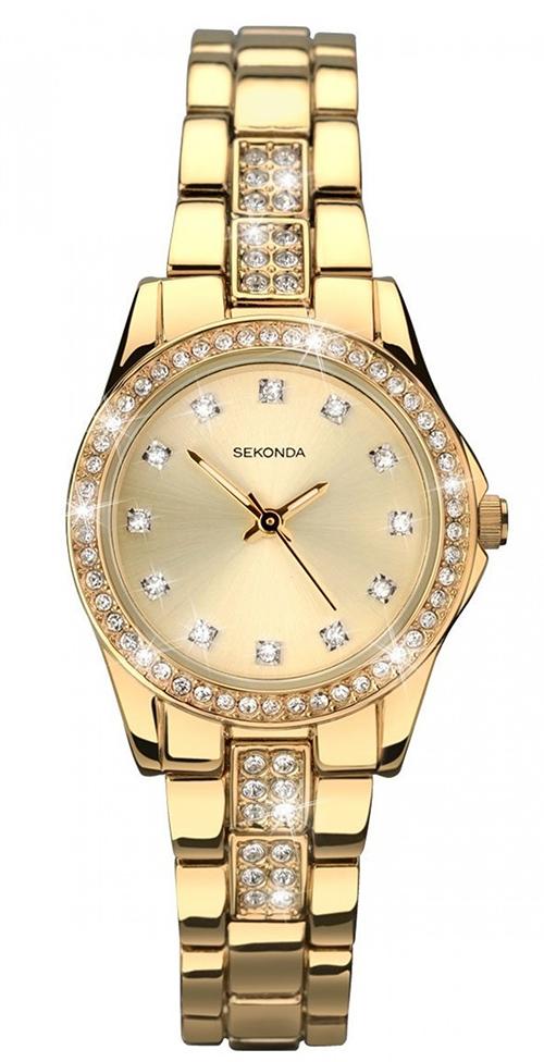 Billigt dameur i guld med diamanter