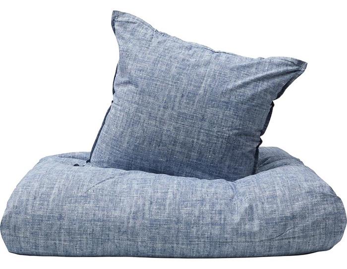 Blåmeleret sengetøj i blød bomuld