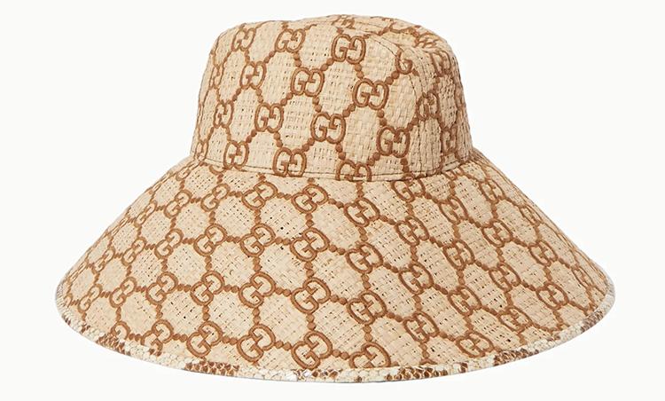 Eksklusiv Gucci bøllehat med bred skygge i flet