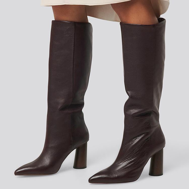 Eksklusive brune læderstøvler til fornuftig pris