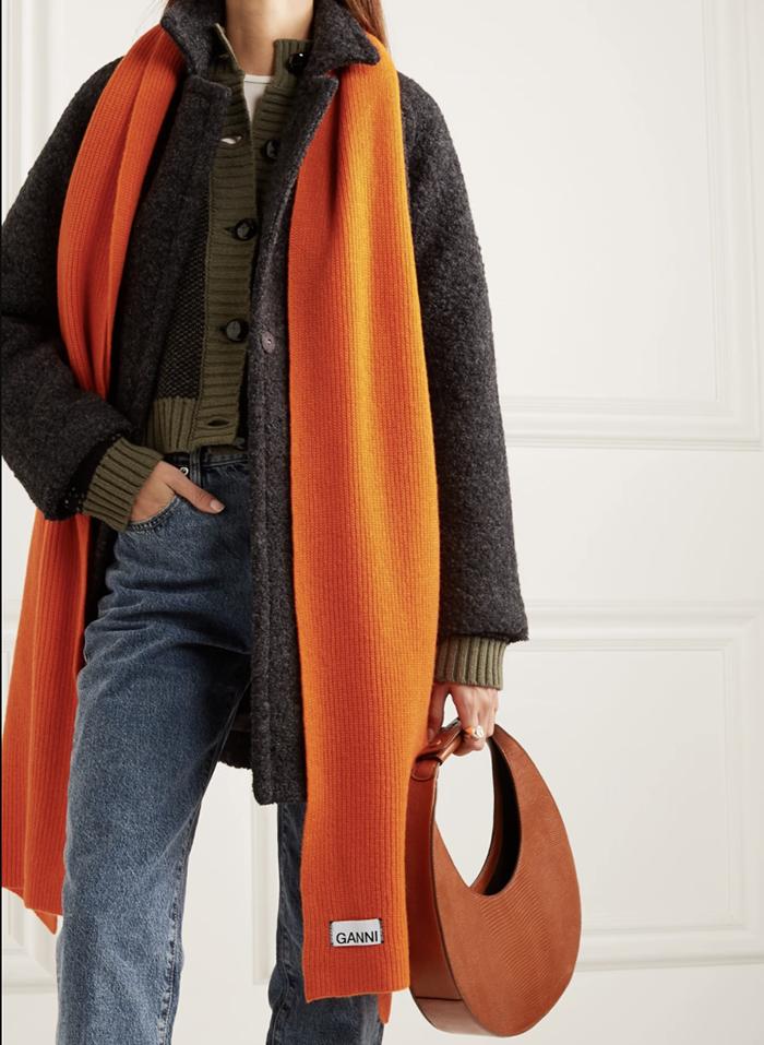 Fedt orange Ganni tørklæde til kvinder