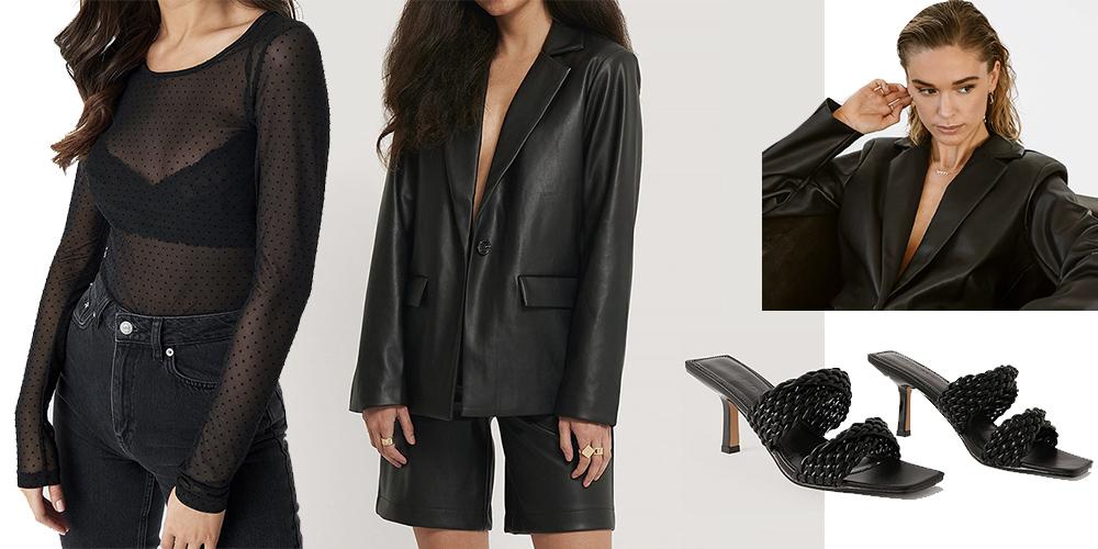 Læder jakkesæt med sorte stiletter og gennemsigtig top