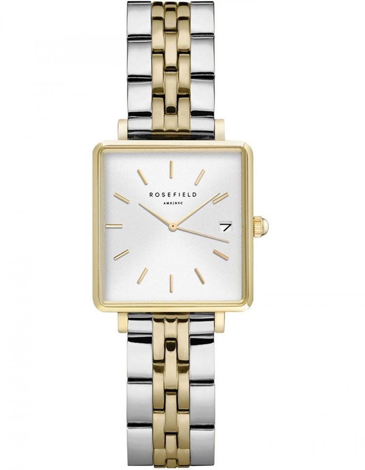 Firkantet armbåndsur til kvinder i guld og sølv