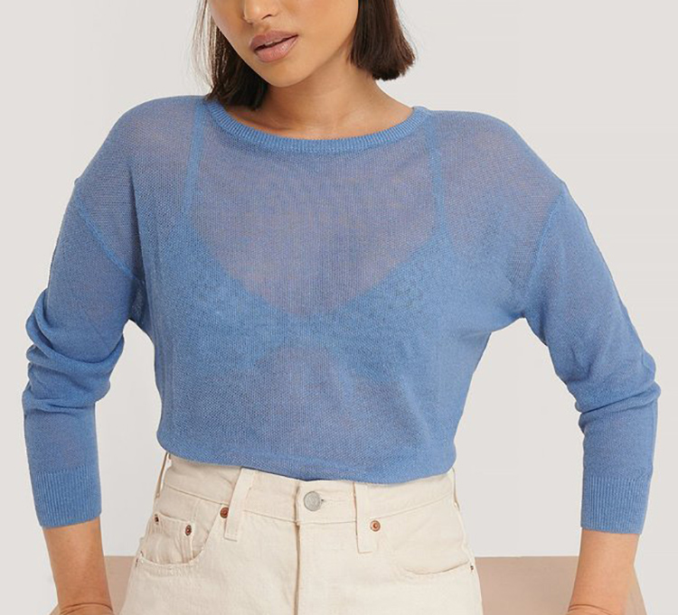 Gennemsigtig blå striktrøje til kvinder
