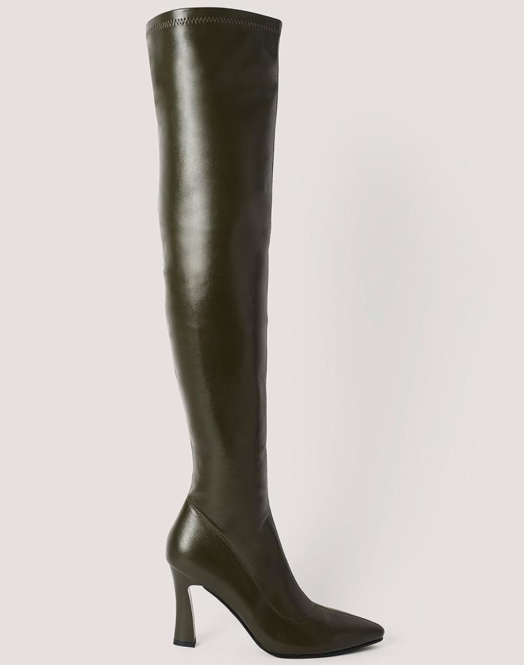 Grønne, knæhøje støvler med hæl