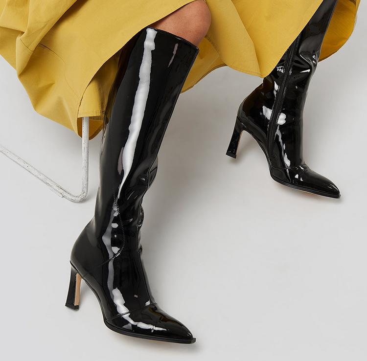 Højhælede shiny støvler med hæl
