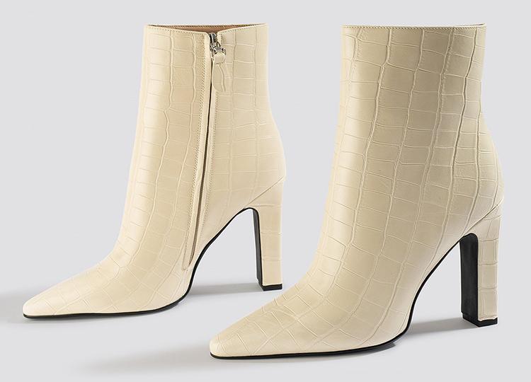 Lyse højhælede støvler til kvinder'