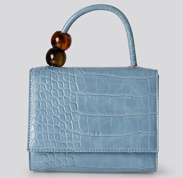 Smuk lyseblå taske i kunstigt slangeskind