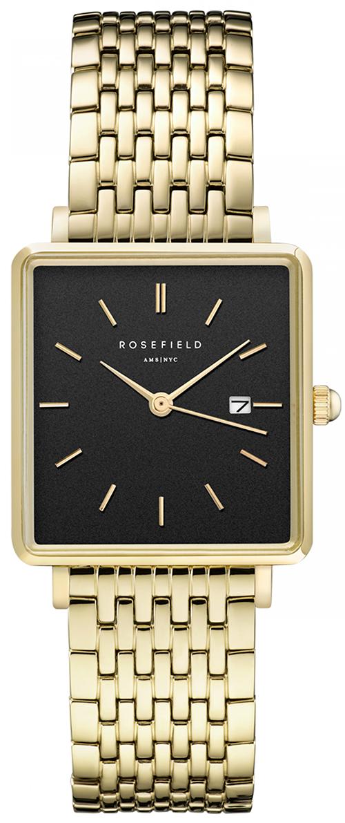 Smukt armbåndsur med sort firkantet urskive