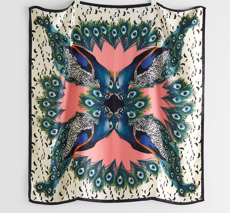 Smukt påfulg tørklæde til damer