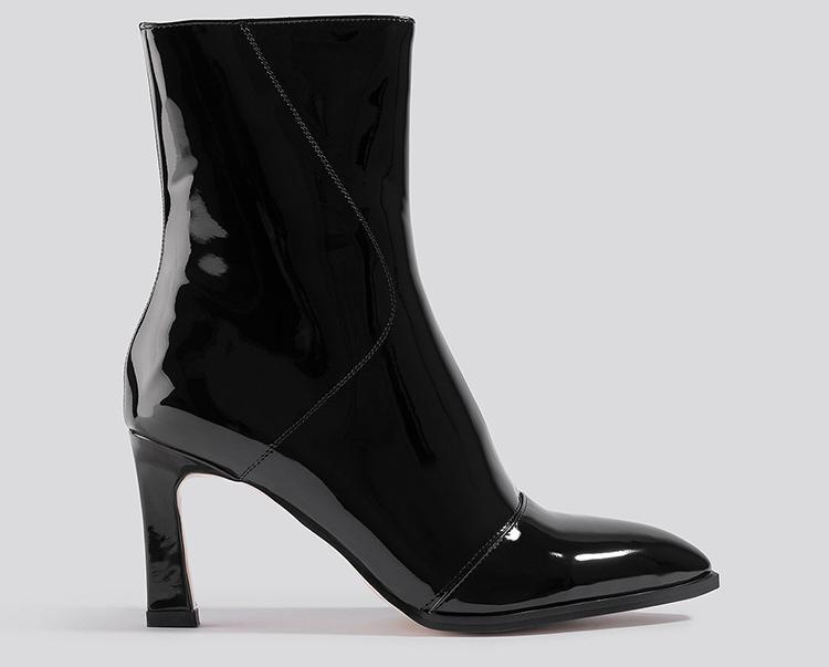 Sorte og shiny støvler til kvinder