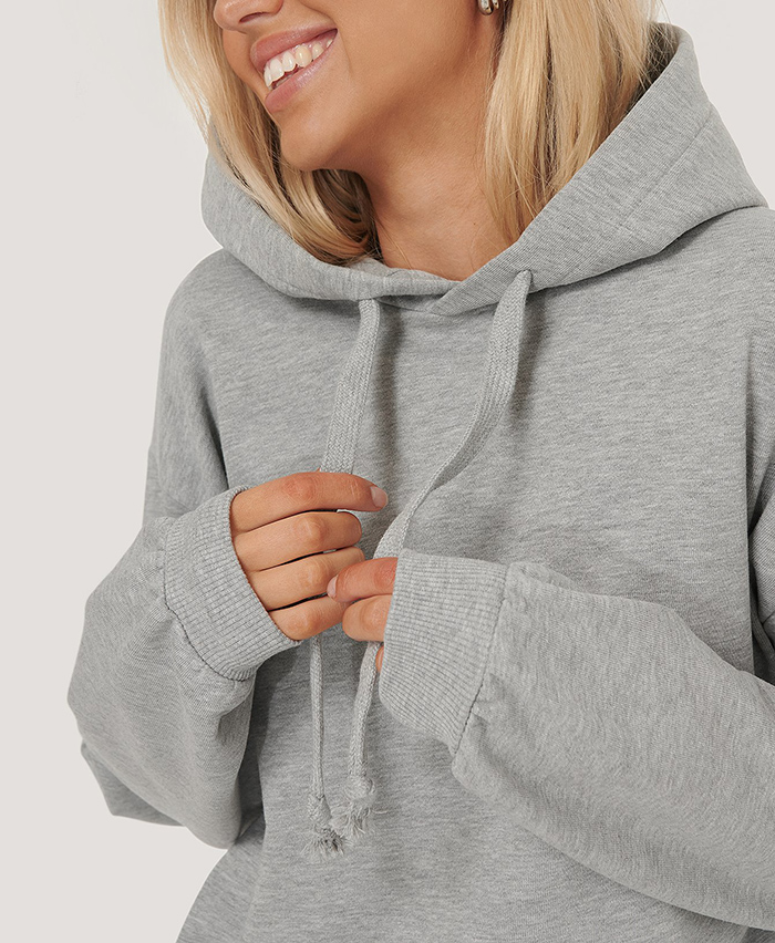 Lækker oversized hoodie grå bomuld