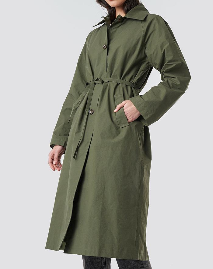 Armygrøn trenchcoat til kvinder