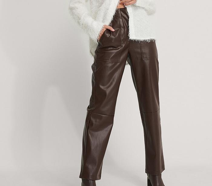 Brune PU-læder bukser til kvinder