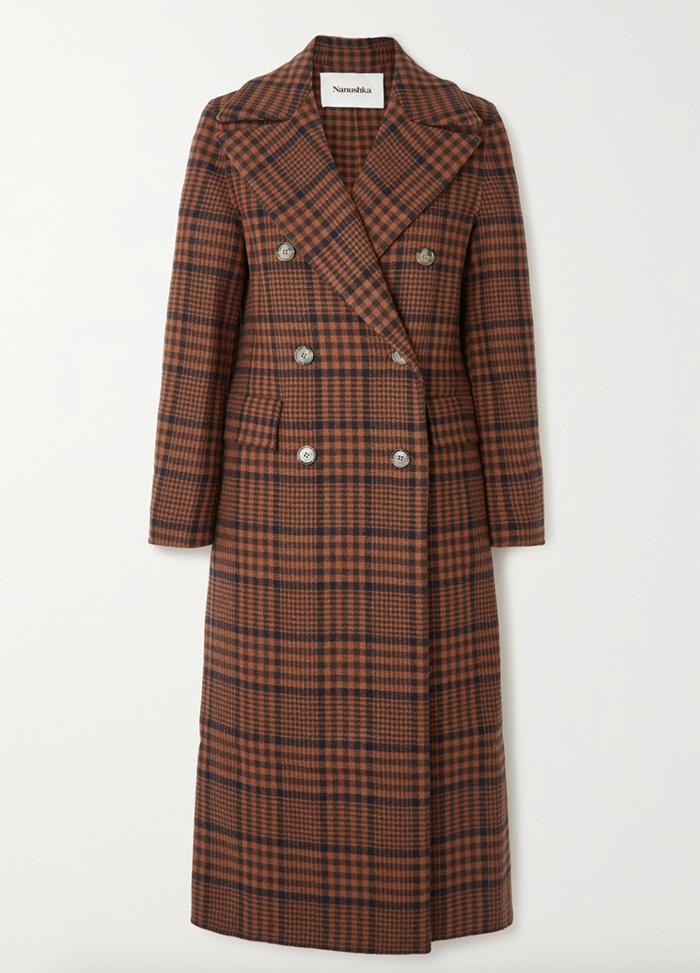 Eksklusiv trench coat med tern og gyldne knapper