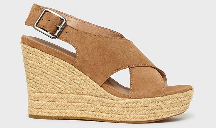 Højhælede plateau sko med sål i siv