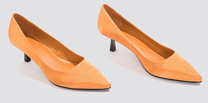 Højhælede sko i orange stof