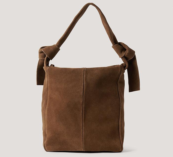 Rå shopper taske i falsk brun ruskind