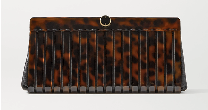 Smuk håndtaske mønstret brun akryl