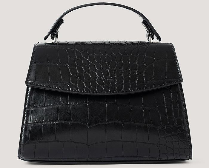 Sort håndtaske med sort krokodilleprægning