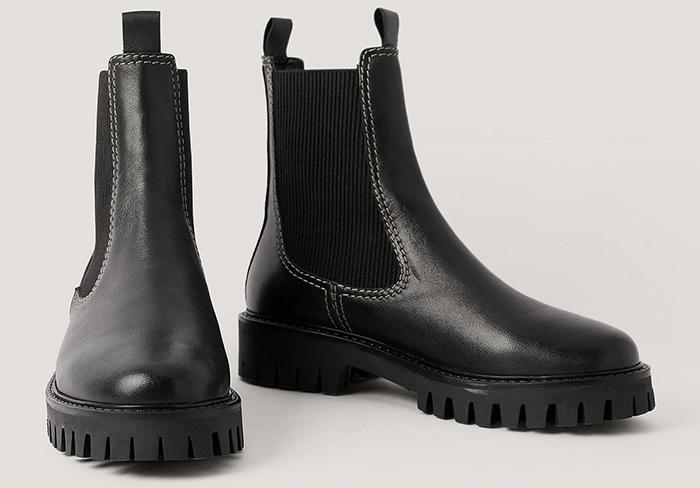 Sorte læderstøvler med militær så