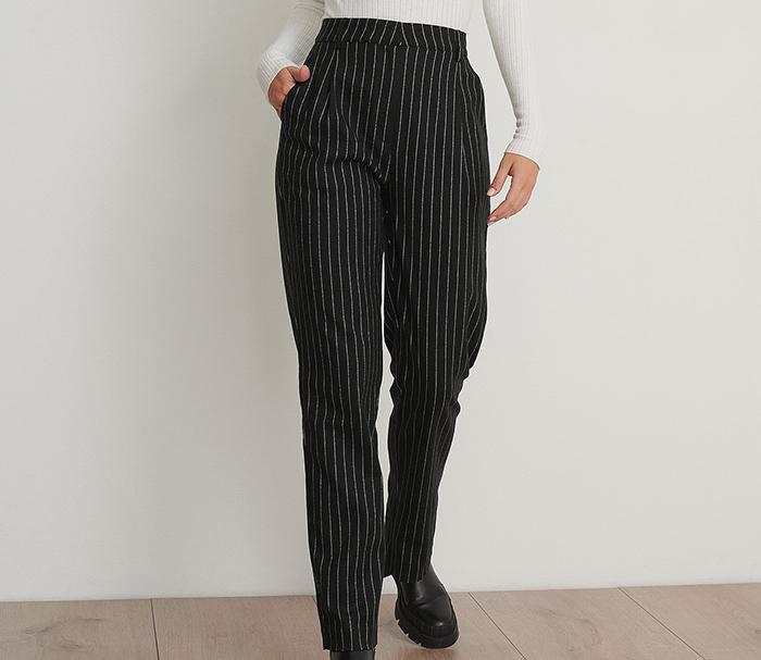 Stribede højtaljede bukser med vide ben