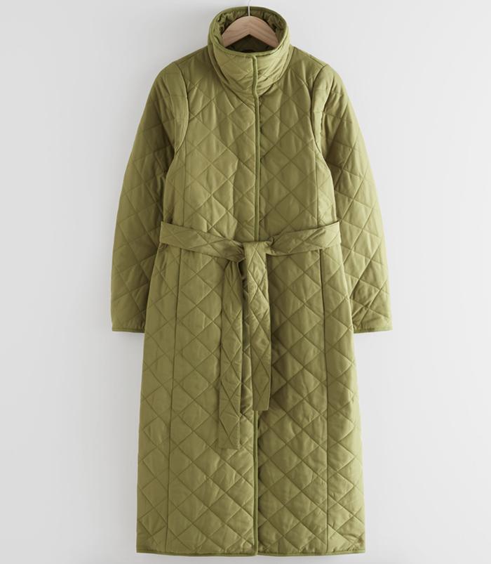 Armygrøn vinterfrakke til den stilfulde dame