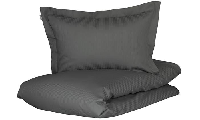 Blødt og lækkert sengetøj i koksgrå striber