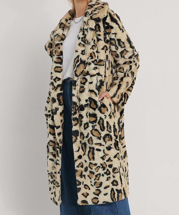 Dame vinterfrakke i imiteret leopard