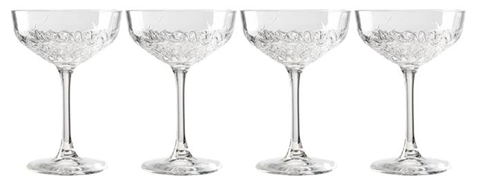 Lækkert sæt af cocktailglas i antik stil