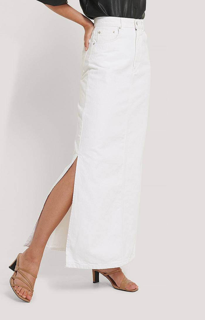 Lang hvid denim nederdel med høj slids