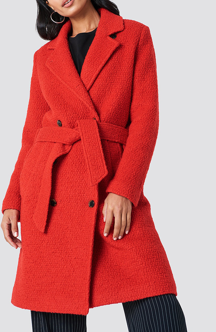 Rød luksuriøst vinterfrakke til damer