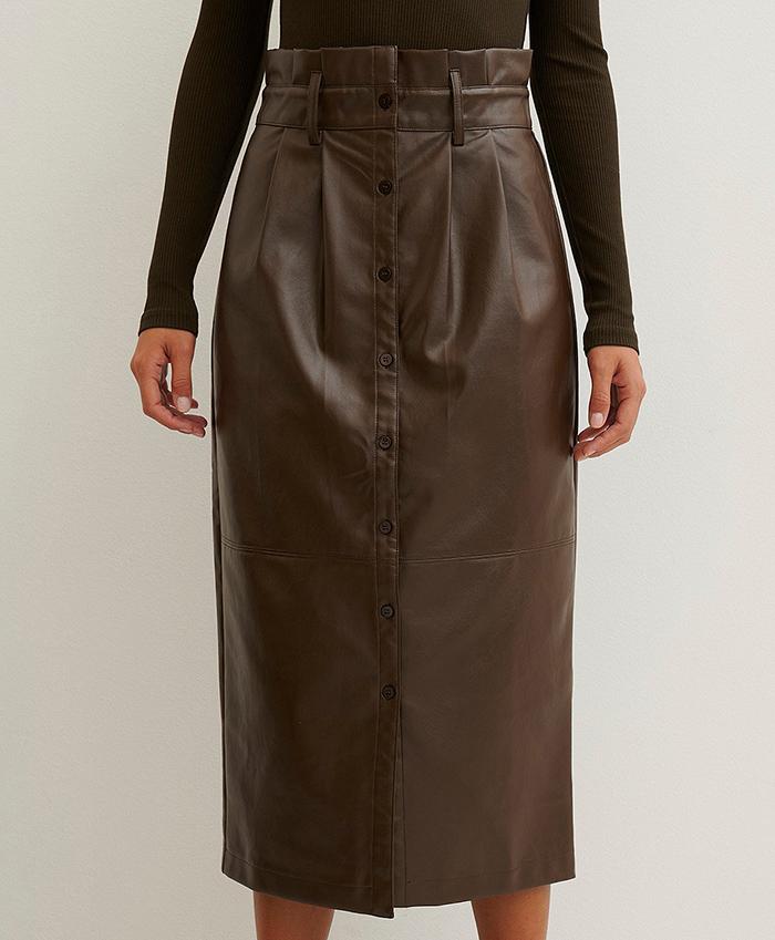 Smuk billig nederdel i brun pu læder