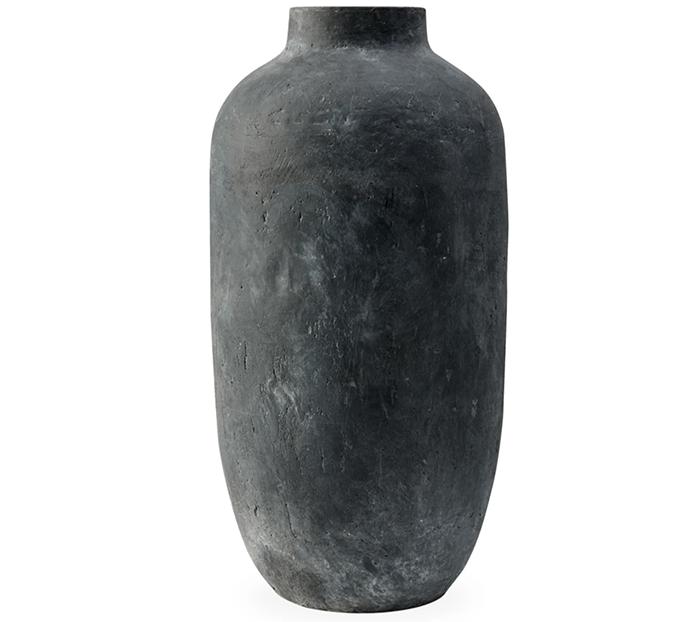 Smuk høj vase i mørkt stentøj