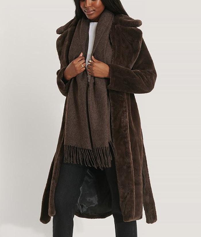 Vinterfrakke til damer faux bjørneskind