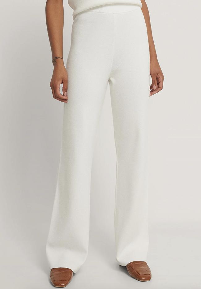 Bløde hvide bukser til damer i strik