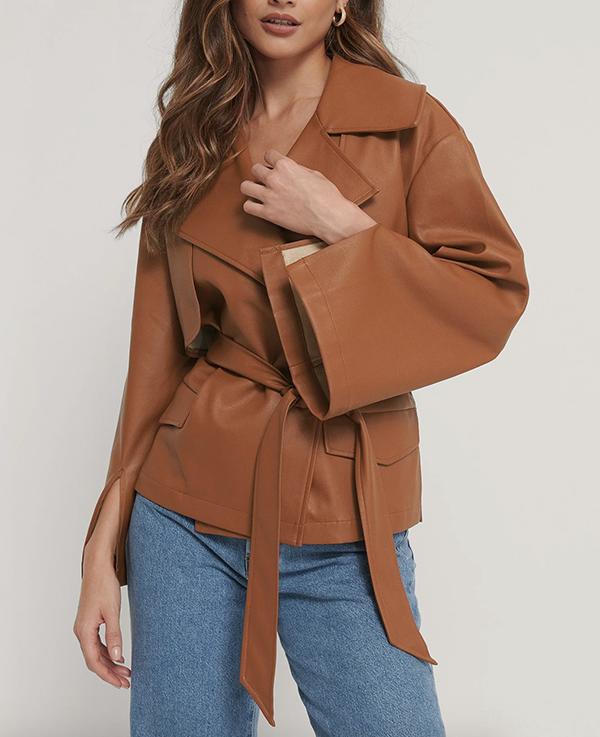 Cognac farvede Pu læder jakke til damer