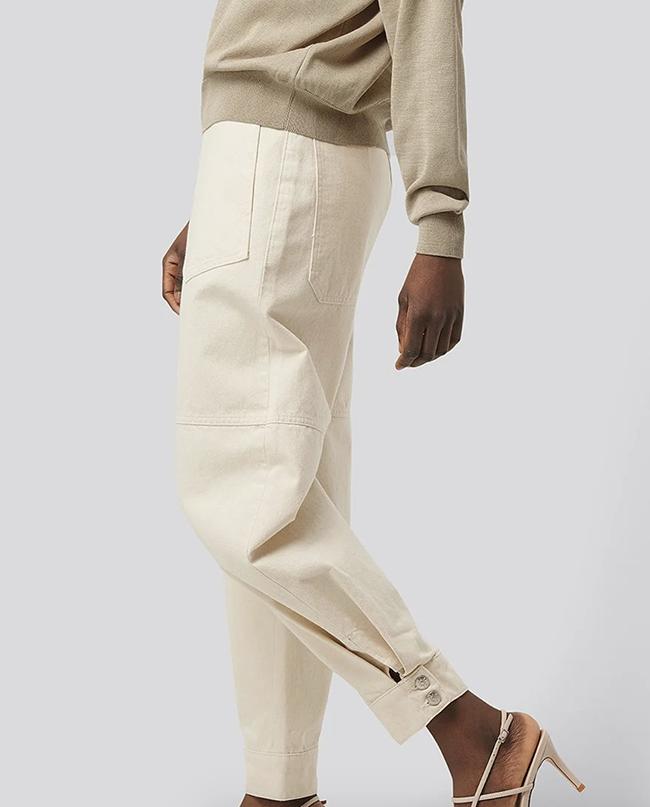 Fede hvide bukser i råhvid denim