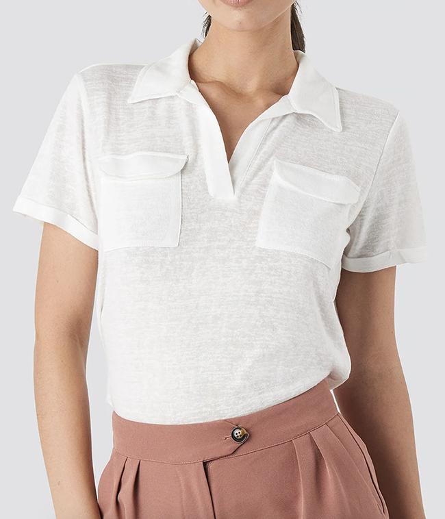 Flot hvid polo t-shirt til damer