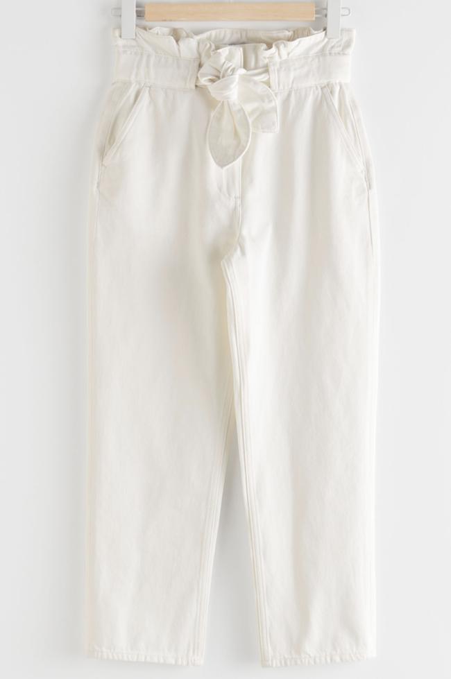 Flotte hvide bukser til damer i økologisk bomuld