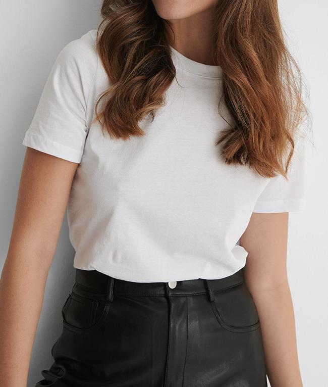 Hvid basic t-shirt til damer