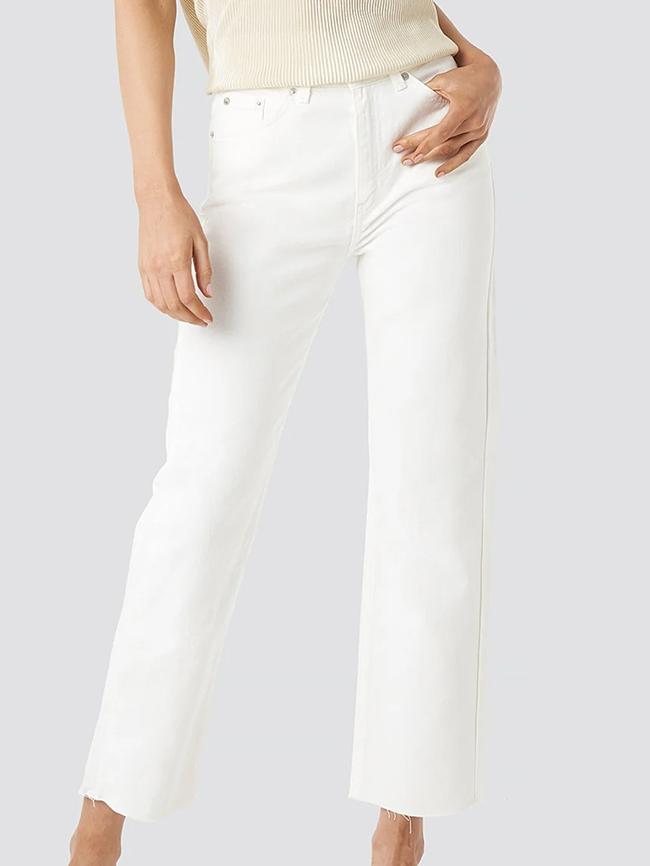 Klassiske hvide denim jeans til kvinder