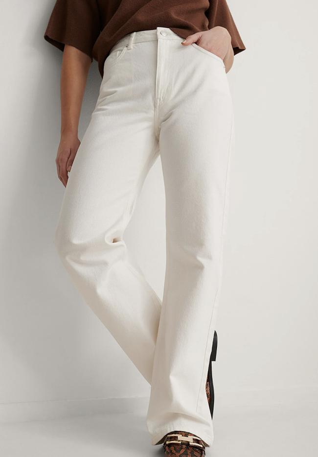 Lange økologiske jeans i hvid denim
