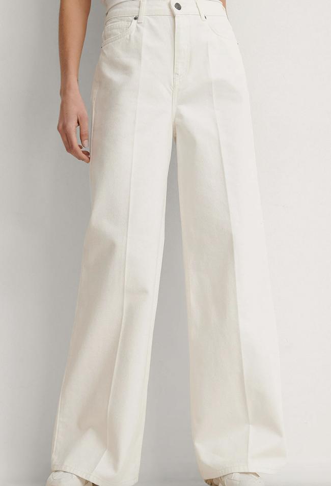 Lange og posede hvide 90'er bukser til damer