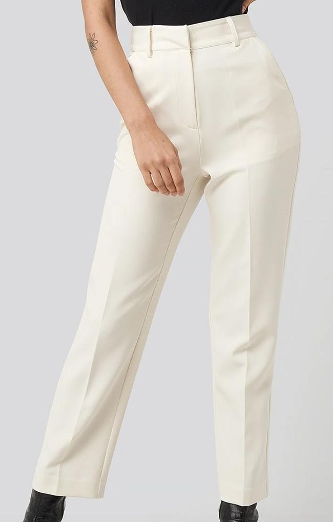 Skræddersyet regular fit hvide bukser til damer